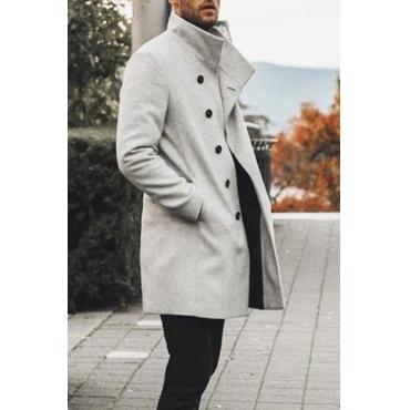 Lovely Casual Button Design Light Grey Knee Length Coat