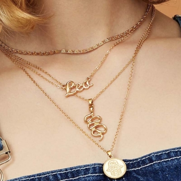Lovely Chic Letter Gold Necklace