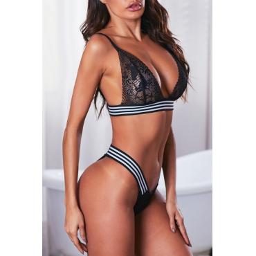 Lovely Sexy Striped Black Bra Sets