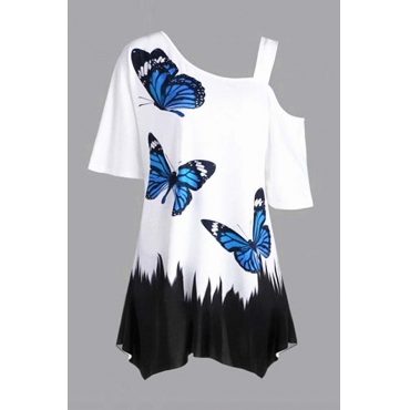 Lovely Casual Print White  Plus Size Blouse
