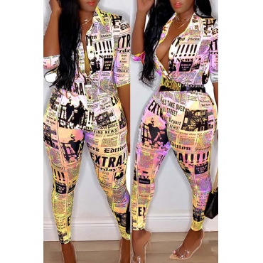 Lovely Casual Print Yellow Plus Size Two-piece Pants Set