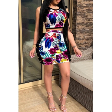 Lovely Trendy Print Multicolor Two-piece Skirt Set