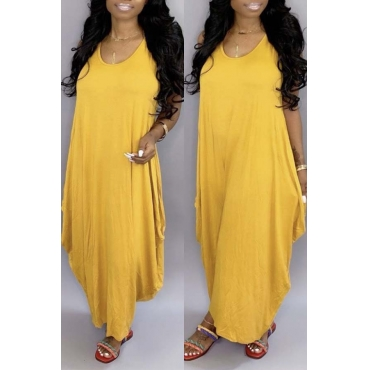 Lovely Casual Loose Yellow Ankle Length Dress