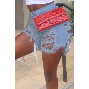 Lovely Chic Hollow-out Baby Blue Shorts