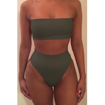 Lovely Dew Shoulder Army Green Two-piece Swimsuit