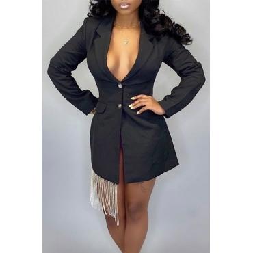 Lovely Trendy Buttons Design Black Blazer