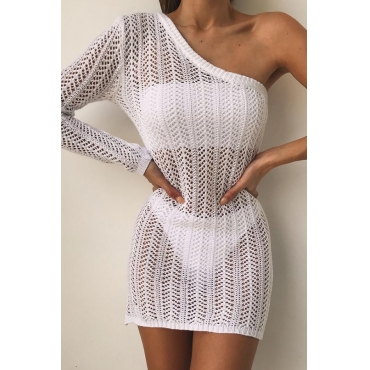 Lovely One Shoulder White Beach Dress