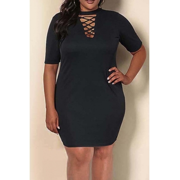 Lovely Casual Hollow-out Black Knee Length Plus Size Dress