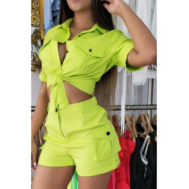 Lovely Trendy Buttons Design Green Two-piece Shorts Set