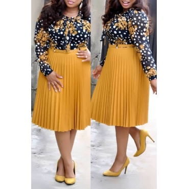 Lovely Casual Print Yellow Knee Length Plus Size Dress