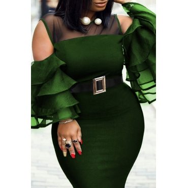 Lovely Casual Flounce Deep Green Mid Calf Plus Size Dress