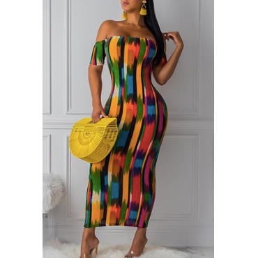 Lovely Chic Print Multicolor Ankle Length Dress