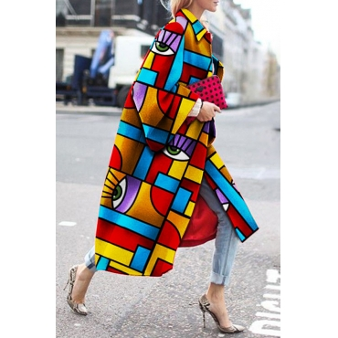 Lovely Casual Print Multicolor Plus Size Coat