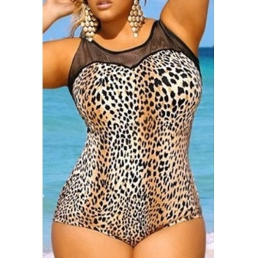 Lovely Leopard Print Plus Size One-piece Swimsuit