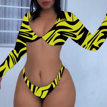 Lovely Striped Yellow Two-piece Swimsuit