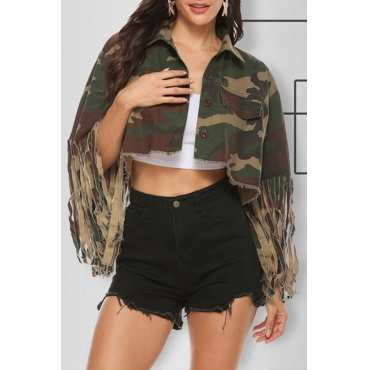 Lovely Casual Tassel Design Army Green Jacket