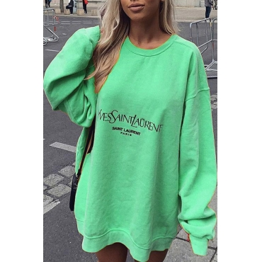 Lovely Casual Letter Print Green Hoodie