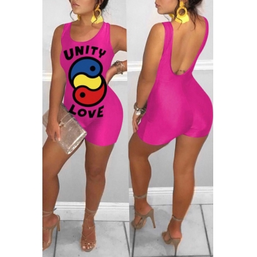 Lovely Trendy Backless Rose Red One-piece Romper
