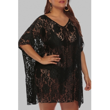 Lovely Chic See-through Black  Plus Size Beach Blouse Cover-up