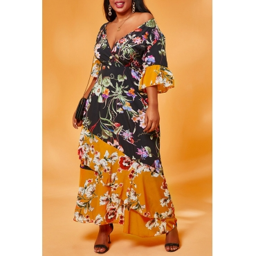 Lovely Casual Patchwork Print Black Ankle Length Plus Size Dress
