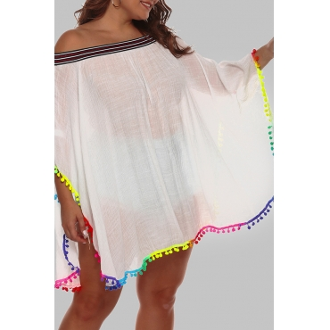 Lovely Chic Loose White Plus Size Beach Blouse