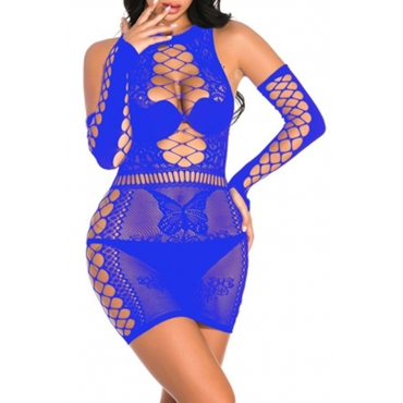 Lovely Sexy Hollow-out Blue Babydolls