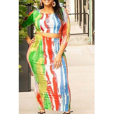 Lovely Casual Print Multicolor Plus Size Two-piece Skirt Set