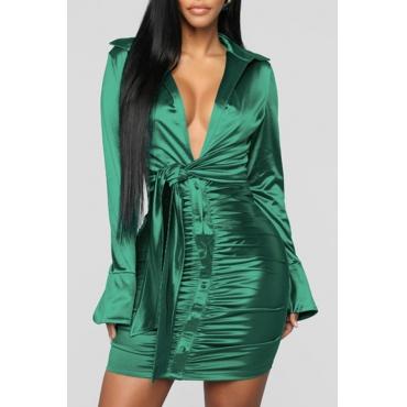 Lovely Trendy Deep V Neck Fold Design Green Mini Dress