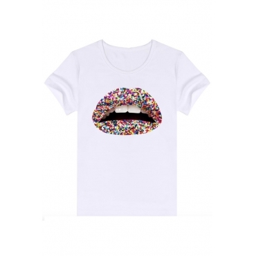 Lovely Casual Lip Print Pure White T-shirt