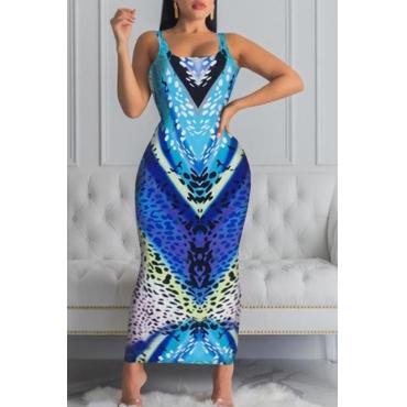 Lovely Chic Print Multicolor Ankle Length Dress