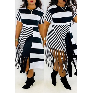 Lovely Casual Tassel Print Black Plus Size Dress