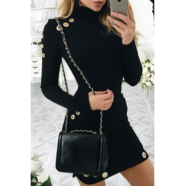 Lovely Casual Turtleneck Button Black Mini Dress