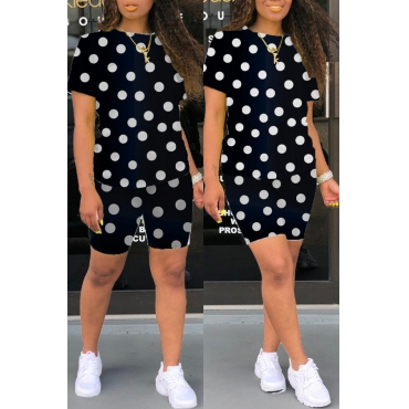 Lovely Casual Dot Print Black Two-piece Shorts Set