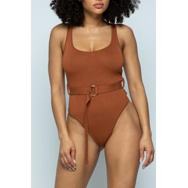 Lovely Sexy Skinny Brown Bodysuit