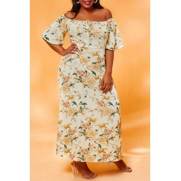 Lovely Chic Floral Print White Ankle Length Plus Size Dress