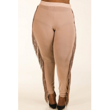 Lovely Casual Tassel Design Skin Color Plus Size Pants