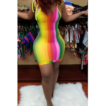 Lovely Casual Striped Multicolor Mini Dress