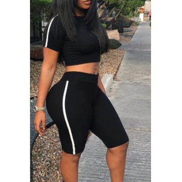 Lovely Black Polyester Shorts Solid O neck Short Sleeve Sexy Two-piece Outfits