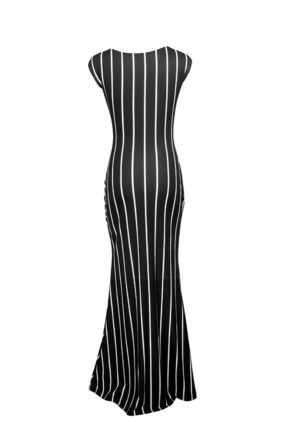 Lovely Casual Striped Black Maxi OL Dress