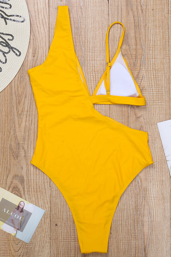 Lovely Hollow-out Yellow One-piece Swimsuit