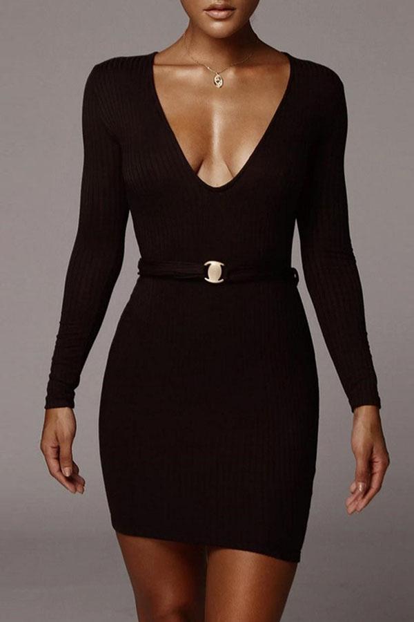 Lovely Casual V Neck Basic Black Mini Dress