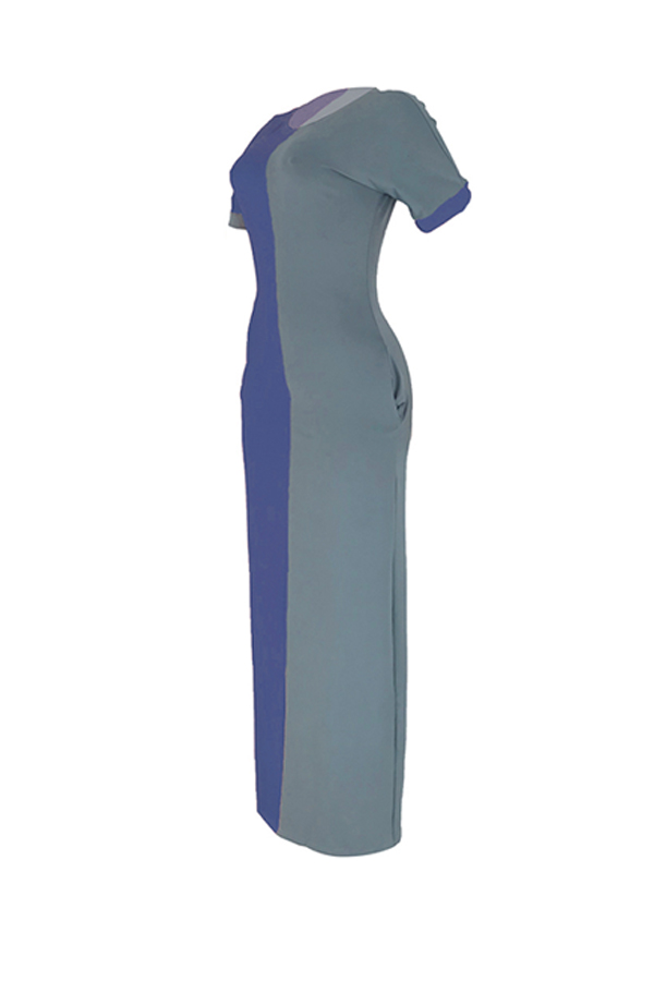 Lovely Casual Color-lump Patchwork Blue Ankle Length Dress