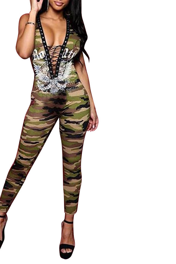 Lovely Street  Hollow-out Camo One-piece Jumpsuit