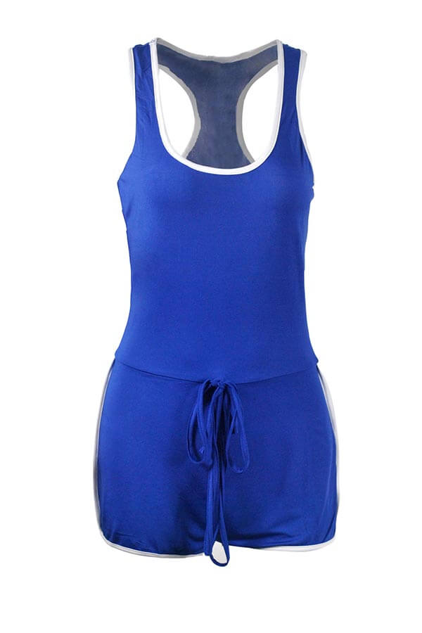 Lovely Casual Patchwork Blue Sportswear One-piece Romper