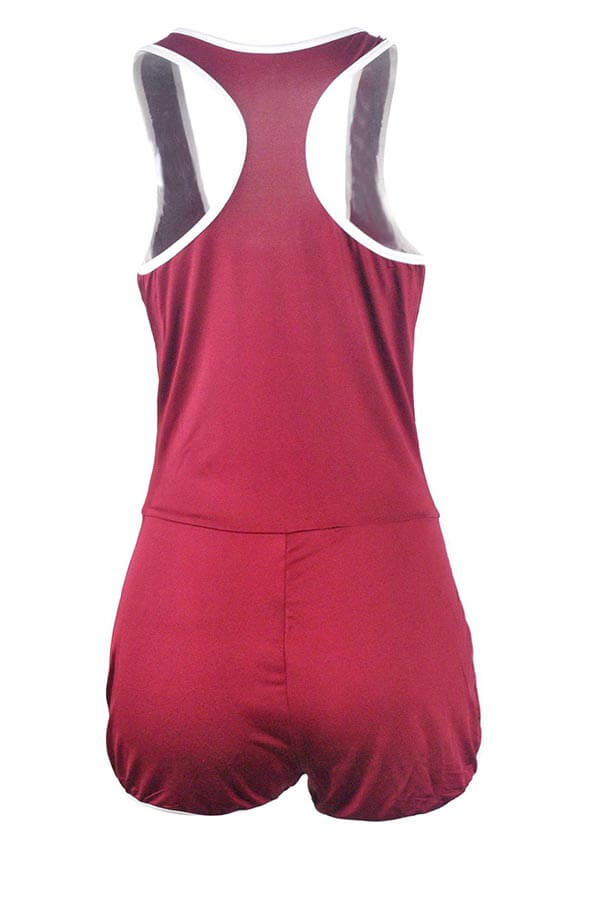 Lovely Casual Patchwork Red Sportswear One-piece Romper