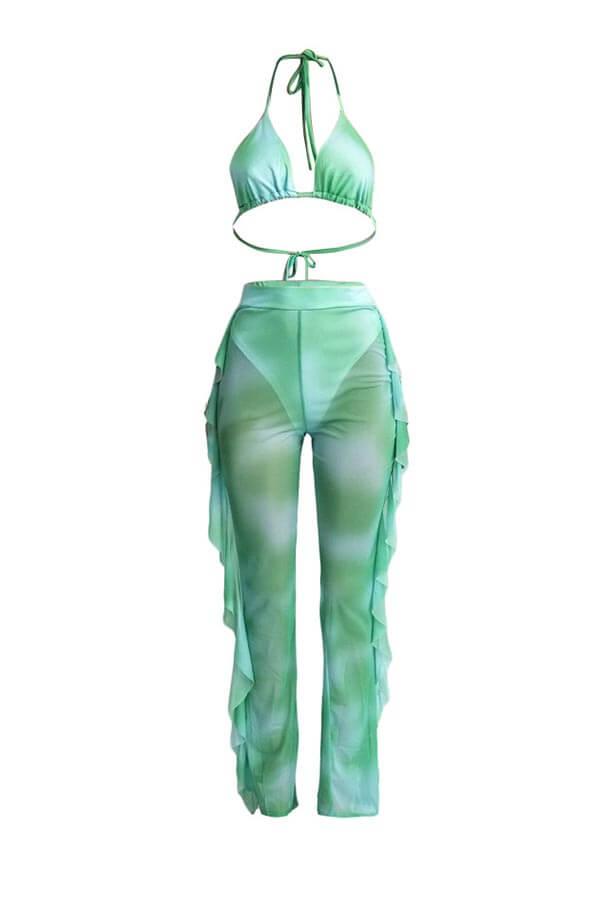 Lovely Printed Ruffle Design Green Two-piece Swimwear