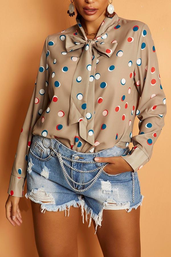 Lovely Casual Dot Print Khaki Shirt