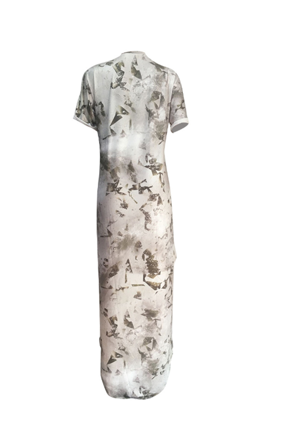 Lovely Chic Asymmetrical Print White Ankle Length Dress