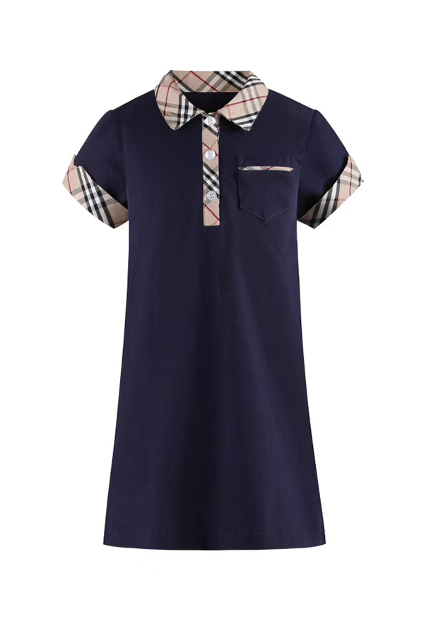 Lovely Chic Patchwork Dark Blue Girl Mid Calf Dress