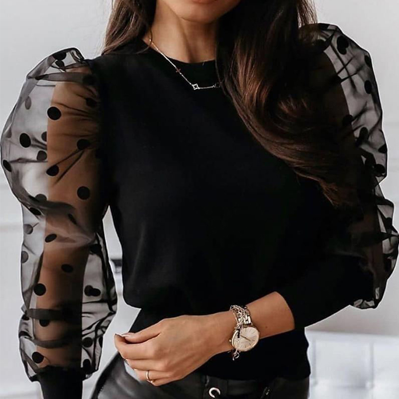 Lovely Sweet See-through Black Blouse